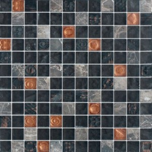 Black Gold 1x1 Dark Emperador Marble, Bronze & Gold Glass Tile
