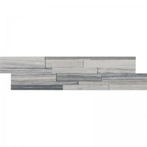 Alaska Gray Marble 3D Honed 6 in. x 24 in. Ledger Panel Wall Tile