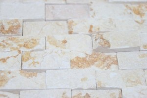 Sunny Gold Split-face Gold Color 1x2 Marble Mosaic Tiles
