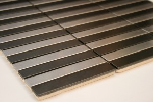 "Strip Pattern 5/8"" x 3 7/8"" Black & Silver Stainless Steel Tile"