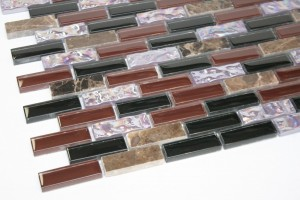 5/8 in. x 1 7/8 in. Glass (Brown, Black, Iridescent) & Stone (Dark Emperador) Blend Mesh-Mounted Glass & Mosaic Tiles