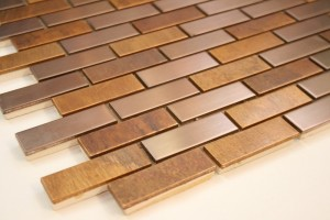 Antique and Brushed Bronze Metal Brick Pattern Mosaic Tile