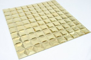 "Golden Pyramid 1"" x 1"" Square Glass Mosaic Tile"