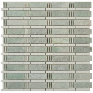 Skyline Pattern Ming Green Marble with Thassos Marble Mesh Mounted Mosaic Tile