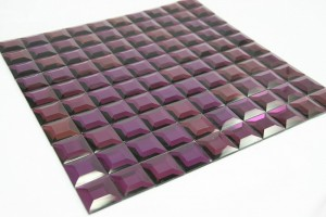 "Purple Pyramid 1""x 1""  Glass Mosaic Tile"