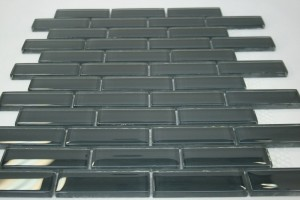 Dark Slate 1 in. x 3 in. Slate Grey Glass Tile