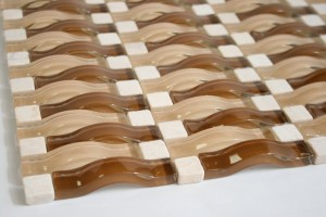 Random Brick Latte 3D Waves Arch Glass mosaic Tile