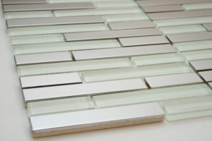 Random Bricks Stainless Steel & White Glass Mosaic Tile
