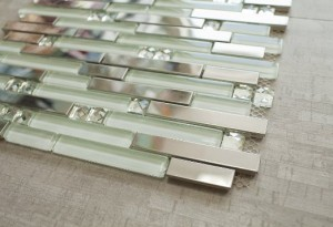 Shiny Stainless Steel White Crystal & White Glass Tile