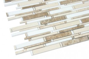 Cane Series Random Spanish Crema Marfil with Greek Thassos White Polished  Marble Mosaic Tile