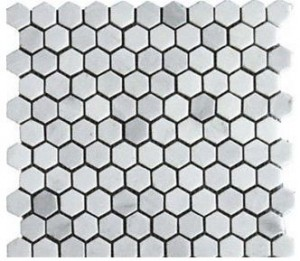 "White Marble 1"" Hexagon Polished tile- Stunning Tile"