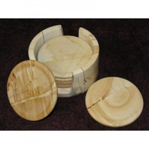 Teakwood Stone Marble Contemporary Round Set of 6 Coasters