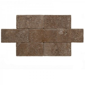 6x12 Noce Tumbled Travertine Pavers Tile for Driveway, Pool Deck, Patio