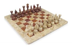 12x12 White Marble & Red Onyx Stone Chess Set