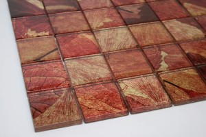 Summer Red 2 in. x 2 in. Gold & Brown Glass Mosaic Tile
