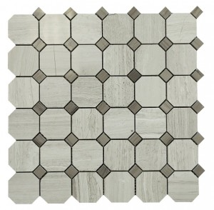 Wooden Gray Octagan with Gray Dot Tiles
