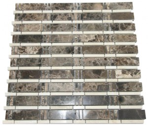 Newport  Dark Emperador Brown and Cream Marble Mosaic 12 x 12
