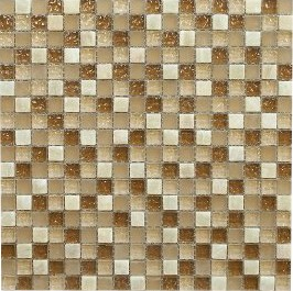 "Mocha Honey 5/8"" x 5/8"" Onyx Marble Glass Mosaic Tile"