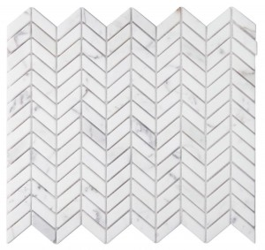 Chevron Petite Calacatta Gold Marble Cut into Small Pieces into Chevron Wave Honed Mosaic Tile | Floor | Backsplash | Accent Wall | Kitchen | Bathroom | Shower