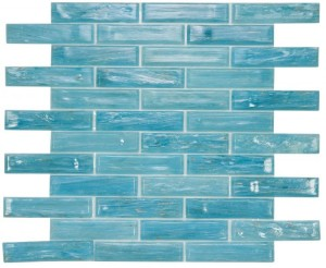"12"" x 12.75"" Hot Long Clear Blue Glass Mosaic in Elongated Brick Pattern for Kitchen Bath Backsplash and Shower Wall"