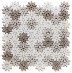 Daisy Wild Smoke Made with a Combination of Thassos, Haisa Grey & Athens Grey Marble Flower Pattern Mosaic Tile | Shower | Wall | Floor | Backsplash | Accent Wall | Kitchen | Bathroom