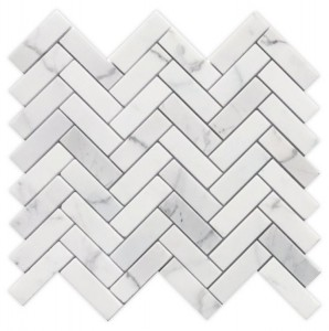1 in. x 3 in. Herringbone Calacatta White Marble Pieces That Form a Herringbone Pattern Mosaic Tile | Kitchen | Bathroom | Shower | Wall | Backsplash | Accent Wall