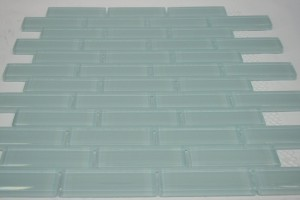 Soft Blue 1 in. x 3 in. Glossy Finish Sky Blue Glass Tile