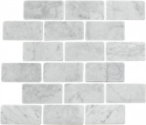 "Bianco White Carrara Marble 2"" x 4"" Brick Tumbled Mosaic Tile"