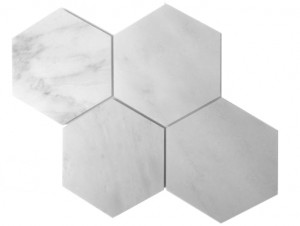 "Italian White Carrara 6"" Hexagon Polished Marble Tile"