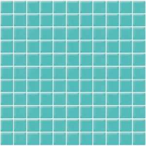 1x1 Aqua Gloss Blue Square Glass Mosaic Tile