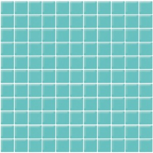 1x1 Aqua Matte Blue Square Glass Mosaic Tile