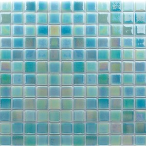 1x1 Aqua Blue & Green Mix Glossy Glass Mosaic Pool Tile (Each Sheet: 1.79 Sqft)