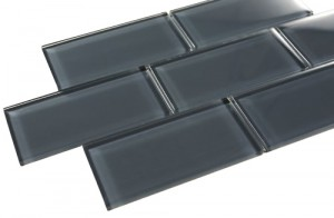 Dark Slate 3 in. x 6 in. Brick Grey Glass Mosaic Tile