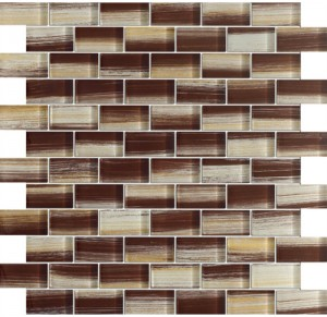 1 x 2 New Trend Art Brown Brick Pattern Glass Mosaic Tile