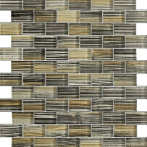 1x2 Zephyr Black & Beige Pinstrip Glossy Bricks Glass Mosaic Tile