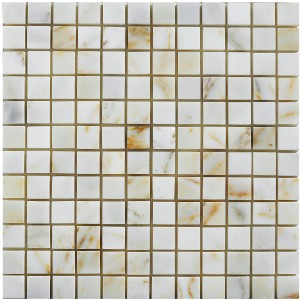 1x1 Afyon Sugar Square Pattern Polished Marble Mesh Mounted Mosaic Tile