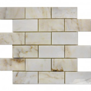 2x4 Afyon Sugar Brick Pattern Polished Marble Mesh Mounted Mosaic Tile