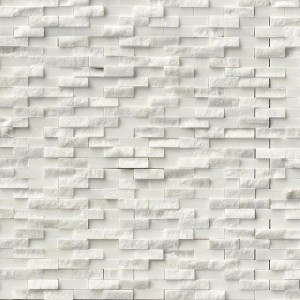 Arabescato Carrara Brick Pattern Honed and Splitface 3D Marble Mosaic Tile