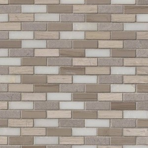 Arctic Storm 0.625x2 Brick Pattern Honed Marble Mosaic Tile | Wall | Floor | Bathroom | Kitchen | Shower | Countertop