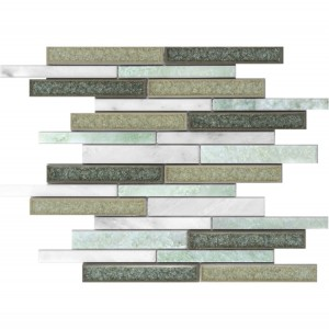 11.75x11.75 Linear Pattern White & Green Marble with Multi Green Crackle Glass Mosaic Tile
