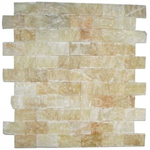 Honey Onyx Polished 1x2 SPLITFACE Mosaic Tiles