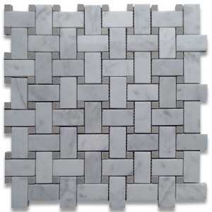 "Bianco White Carrara 1"" x 2"" Basketweave with Bardiglio Gray Dots Polished Mosaic Tile"