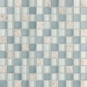 1x1 Serene Lavender Grey Glossy & Matt Square Glass Mosaic Tile