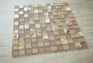 Serene Sunset 1x1 Glass & Beige Blend Mosaic Tile