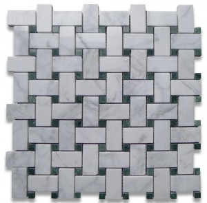 "Bianco White Carrara Marble 1"" x 2"" Basketweave with Ming Green Dots Honed Mosaic Tile"