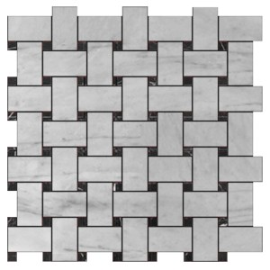 "Bianco White Carrara 1"" x 2"" Basketweave with Negro Marquina Black Dots Polished Marble Mosaic Tile"