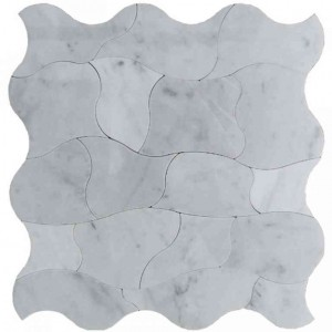 "11.80""x11.80"" Picasso Bianco Carrara Marble Waterjet Mosaic Tile"