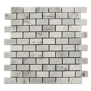 Bianco White Carrara Marble 1x2 Brick Pattern Honed Mosaic Tile