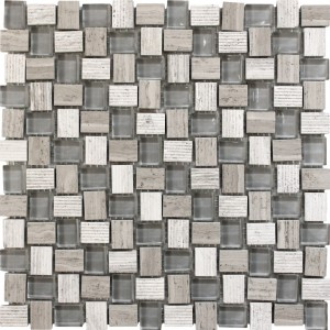 Balinese Wooden Grey Marble White Glass Mosaic Tile