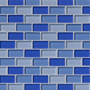 Broadway 1 x 2 Blue Blend Brick Glass Mosaic Tile